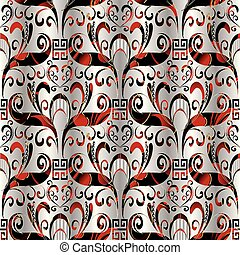 Floral seamless pattern. Vector 3d background silver black red
