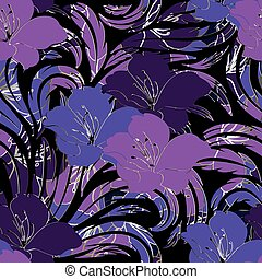Floral seamless pattern. Vector black background wallpaper illus