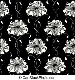Floral seamless pattern. Vector black background wallpaper with