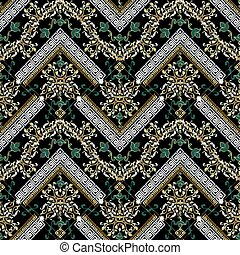 Floral seamless pattern. Vector black damask background. Modern