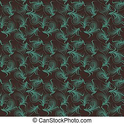 Floral seamless pattern. Vector blue and brown colors