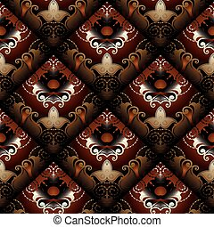Floral seamless pattern. Vector dark red paisley background. Mod