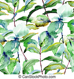 Floral seamless pattern, watercolor illustration