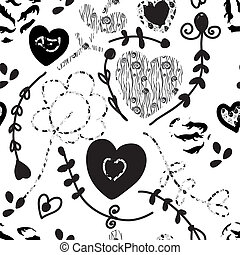Floral seamless pattern whimsical design in black and white