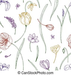 Floral seamless pattern with beautiful blooming garden flowers drawn with colored contour lines on white background. Realistic natural vector illustration for fabric print, wrapping paper, wallpaper.