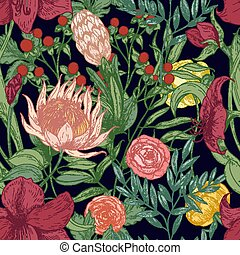 Floral seamless pattern with beautiful wild blooming flowers...