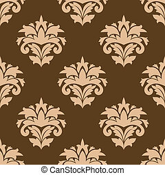 Floral seamless pattern with beige flowers