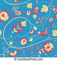 Floral seamless pattern with birds on blue