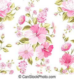 Floral seamless pattern with blooming flowers.
