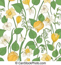 Floral seamless pattern with blooming spring flowers and leaves on white background. Natural seasonal hand drawn vector illustration in vintage style for textile print, wrapping paper, wallpaper.