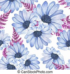 Floral seamless pattern with blue flowers 2