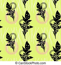 Floral seamless pattern with colorful leaves.