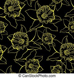 Floral seamless pattern with contour hand drawn flowers Daffodil