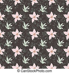 Floral seamless pattern with daffodils, irises, plants and leaves.