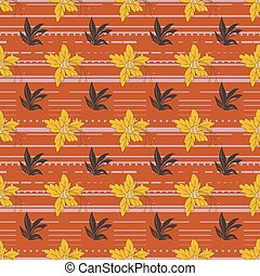 Floral seamless pattern with daffodils, plants and leaves layered with horizontal stripe texture.