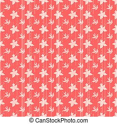 Floral seamless pattern with daffodils, plants and leaves.