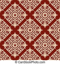 Floral seamless pattern with damask ornament