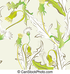 floral seamless pattern with dandelion flowers