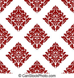 Floral seamless pattern with dark red flowers on white