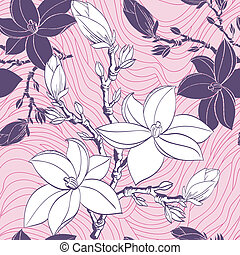 Floral seamless pattern with drawing magnolia flowers