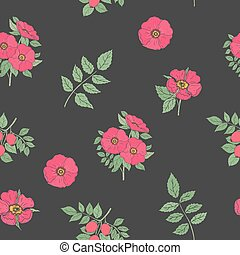 Floral seamless pattern with elegant dog rose flowers, stems and leaves hand drawn in retro style on black background. Botanical vector illustration for wrapping paper, fabric print, wallpaper.
