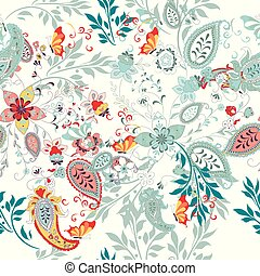 Floral seamless pattern with ethnic ornament and florals