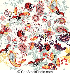 Floral seamless pattern with ethnic ornament, lady bug and florals