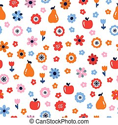Floral seamless pattern with flowers and fruits. Scandinavian style design. Folk background