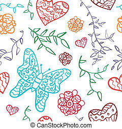 Floral seamless pattern with flowers, hearts and butterfly.