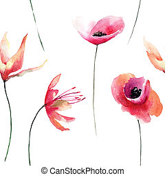 Floral seamless pattern with flowers, watercolour illustration