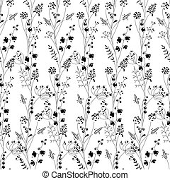 Floral seamless pattern with forest herbs. Black and white