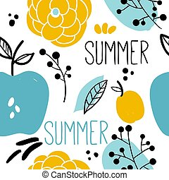 Floral seamless pattern with fruits