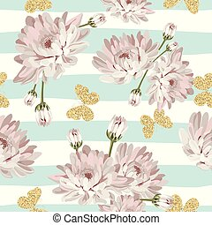 Floral seamless pattern with glittering butterflies