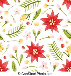 Floral seamless pattern with gorgeous blooming flowers, inflorescences and leaves on white background. Botanical vector illustration in modern flat style for wrapping paper, textile print, backdrop.