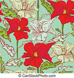 Floral Seamless Pattern with hand drawn flowers - poppy flowers on blue background.