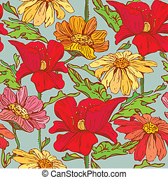 Floral Seamless Pattern with hand drawn flowers - poppy flowers and camomile on blue background.