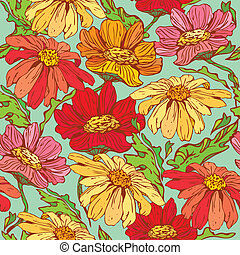 Floral Seamless Pattern with hand drawn flowers - camomile on blue background.