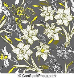 Floral seamless pattern with hand drawn flowers daffodils, narcissus.