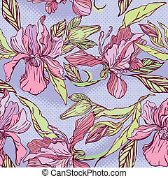 Floral Seamless Pattern with hand drawn flowers - orchids on violet background.