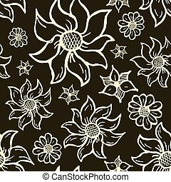 Floral seamless pattern with hand drawn roses. White flowers on black background.