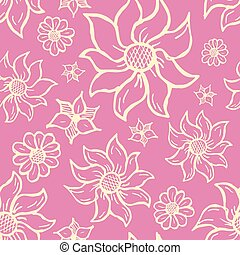 Floral seamless pattern with hand drawn roses. White flowers on pink background.