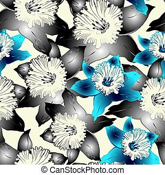 Floral seamless pattern with hand drawn spring flowers daffodils