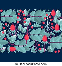 Floral seamless pattern with leaves and berries. Vector background.