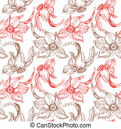 Floral seamless pattern with narcissus