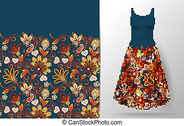 Floral seamless pattern with oriental hand drawing ornament. Vector illustration in asian textile style. Women's dress mock up. Bright orange red on dark blue background