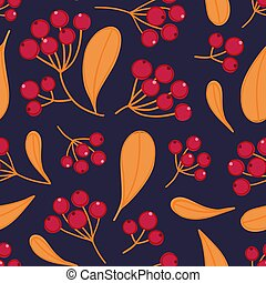 Floral seamless pattern with panicles of berries. Colorful repeating background with plant