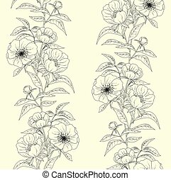 Floral seamless pattern with peonies.