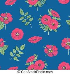 Floral seamless pattern with pink dog rose flowers and leaves hand drawn in vintage style on blue background. Botanical vector illustration for wrapping paper, fabric print, wallpaper, backdrop.