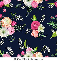 Floral Seamless Pattern with Pink Flowers and Lily. Botanical Background for Fabric Textile, Wallpaper, Wrapping Paper and Decor. Vector illustration