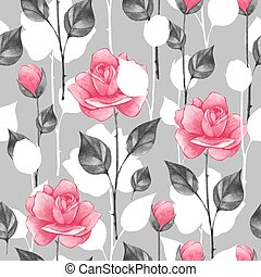 Floral seamless pattern with roses 6